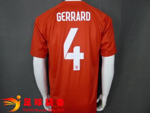 2014世界杯 英格兰队 4号杰拉德 客场球迷版队服